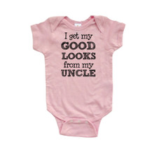 I Get My Good Looks From My Uncle Short Sleeve Baby Bodysuit