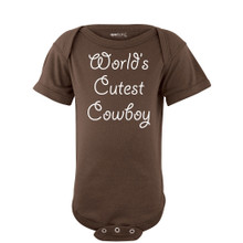 World's Cutest Cowboy Country Boy Short Sleeve Baby Bodysuit