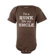 Apericots I'm a Hunk Like My Uncle Funny Short Sleeve Baby Bodysuit