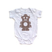 Brown Robot Design on Unisex Short Sleeve Cotton Infant Creeper