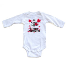 "Killer ""Keep Calm and Shoot Zombies"" Design on White Long Sleeve Baby Bodysuit - Baby Clothes - Halloween or Anytime!"