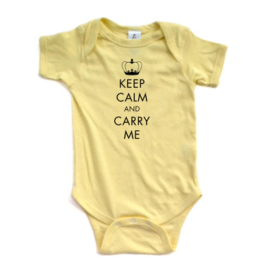 Keep Calm and Carry Me Funny Unisex Short Sleeve Baby Bodysuit