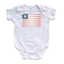 American Flag on White Baby Bodysuit