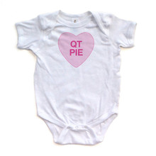QT Pie - Candy Heart - Valentine's - White, Pink or Light Yellow Short Sleeve Baby Bodysuit