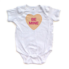 Be Mine - Candy Heart - Valentine's - White or Pink Short Sleeve Baby Bodysuit