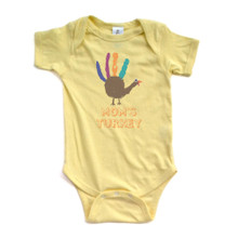 "Adorable Baby Infant ""Mom's Turkey"" With Handprint Bird Unisex Thanksgiving Romper"
