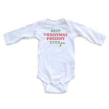 "Apericots Cute ""Best Christmas Present Ever"" Winter Holiday Baby Long Sleeve Romper"