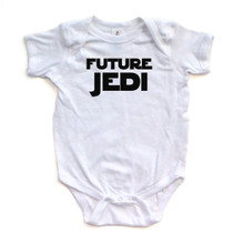 Future Jedi Baby One Piece Bodysuit Star Wars Starwars Black Print on White, Pink, Yellow, Light Blue, or Red
