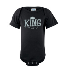 Cute King Baby Boy Bodysuit With Crown On Super Soft Cotton