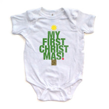 "Apericots Cute ""My First Christmas"" Tree Shape Xmas Holiday Baby Soft Warm Bodysuit"