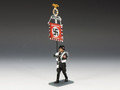 LAH140  New Marching SS Banner Man by King & Country (Retired)