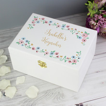 Fairytale Floral White Wooden Keepsake Box