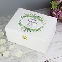 Fresh Botanical White Wooden Keepsake Box