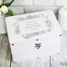 Soft Watercolour White Leatherette Keepsake Box