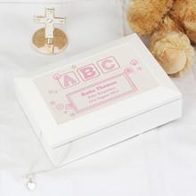 Pink ABC White Wooden Keepsake Box