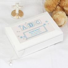 Blue ABC White Wooden Keepsake Box