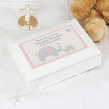 Pink Baby Elephant White Wooden Keepsake Box