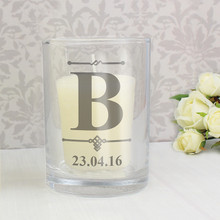Decorative Initial Votive Tealight Candle Holder