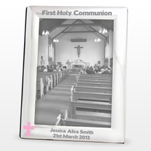 Pink/Blue Cross Silver Photo Frame