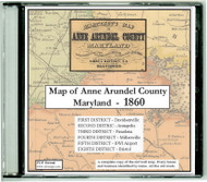Martenet's Map of Anne Arundel County, Maryland, 1860, CDROM Old Map