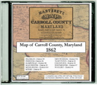 Martenet's Map of Carrol County, Maryland, 1862, CDROM Old Map