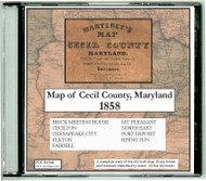 Martenet's Map of Cecil County, Maryland, 1858, CDROM Old Map