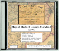 Martenet's Map of Harford County, Maryland, 1878, CDROM Old Map