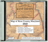 Martenet's Map of Kent County, Maryland, 1860, CDROM Old Map