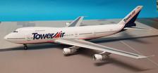 B-742-LL001 | Blue Box 1:200 | Boeing 747-200 Tower Air N618FF, 'Liar Liar' Movie (with stand)