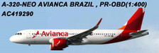 AC419290 | Aero Classics 1:400 | Airbus A320neo Avianca Brazil PR-OBD | is due: June 2018