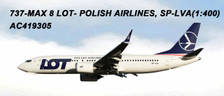 AC419305 | Aero Classics 1:400 | Boeing 737 MAX 8 LOT Polish Airlines SP-LVA | is due: June 2018