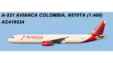 AC419324 | Aero Classics 1:400 | Airbus A321 Avianca Colombia N570TA | is due: July 2018