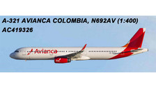 AC419326 | Aero Classics 1:400 | Airbus A321 Avianca Colombia N692AV | is due: July 2018