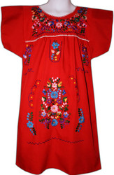 Mexican Fiesta Embroidered Dress Red Size 4