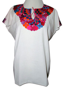 Embroidered Oaxacan Peasant Geometric Huipil Blouse XL