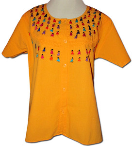 Embroidered Oaxacan Peasant Yellow Blouse L/XL