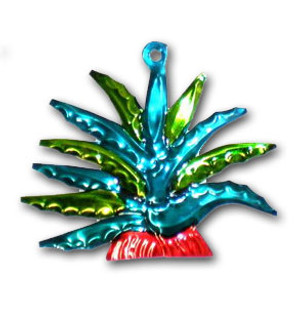 Mexican Tin Christmas Ornament - Cactus