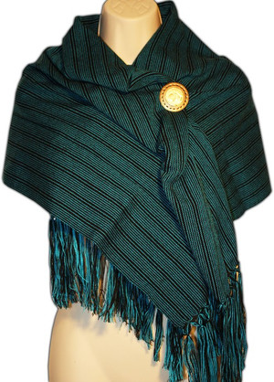 Mexican Rebozo Shawl Green Stripe