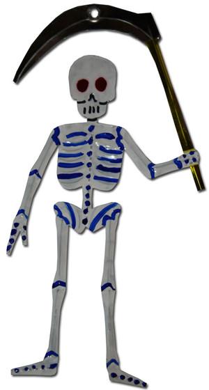 Mexican Tin Christmas Ornament - Calavera Death