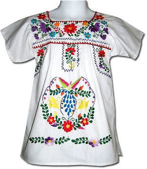 Mexican Fiesta Embroidered Dress White Size 5