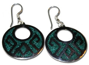 Mexican Alpaca Green Aztec Earrings