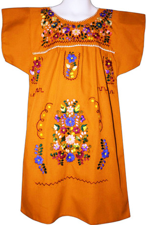 Mexican Fiesta Embroidered Dress Orange Size 2