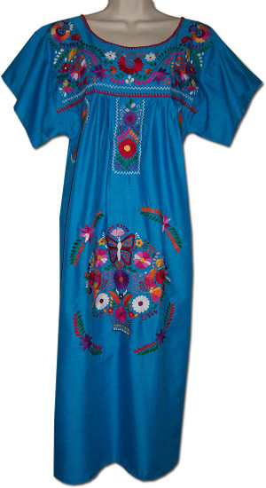 Blue Mexican Embroidered Dress XL