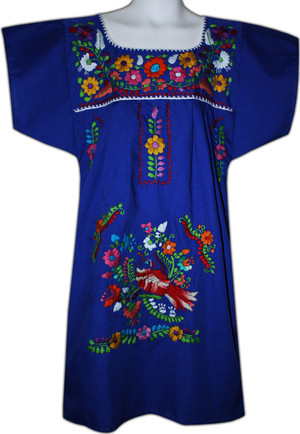 Mexican Fiesta Embroidered Dress Royal Blue Size 3