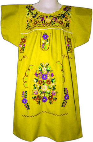 Mexican Fiesta Embroidered Dress Yellow Size 6