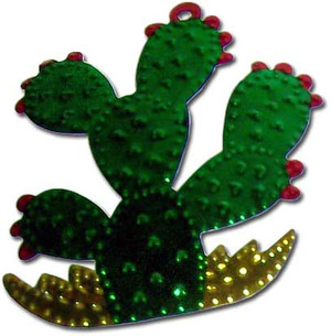 Mexican Tin Christmas Ornament - Cactus Nopal