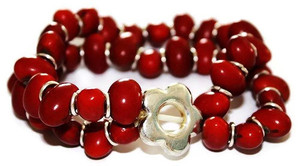 Mexican Colorin Seed Bracelet Flower