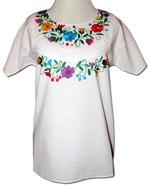 Embroidered Oaxacan Peasant Floral Vines Blouse M/L