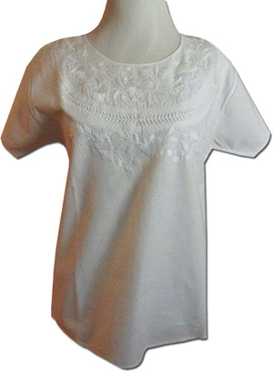 Embroidered Oaxacan Peasant White Blouse S/M