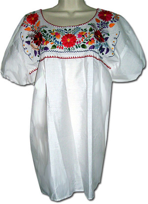 Mexican Puebla Embroidered Blouse White XL